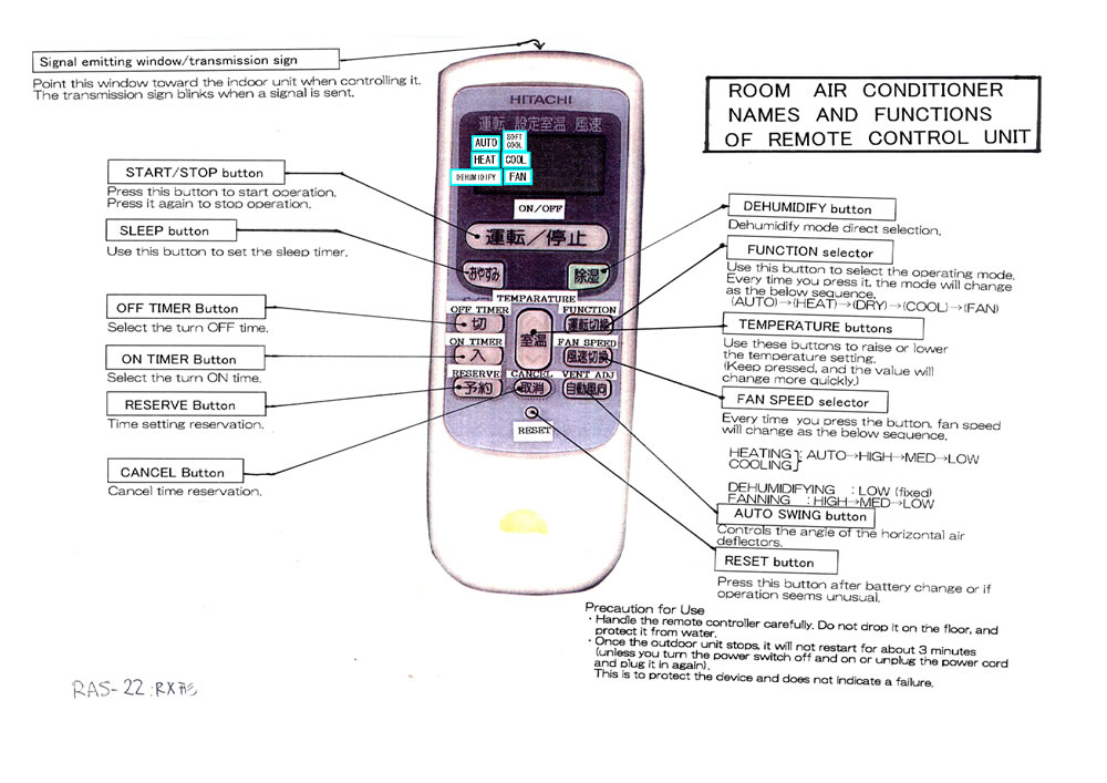 Hitachi Air conditioner Remote control Manual